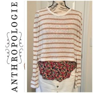 EUC Anthropologie Sweater With Mock Floral Shirt